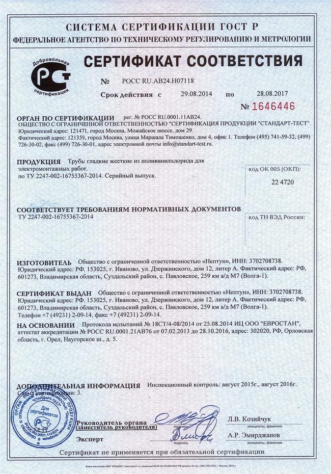 Сертификат на трубы пвх