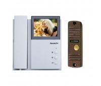FE-4CHP2 + AVC-305 (PAL), комплект видеодомофона медь